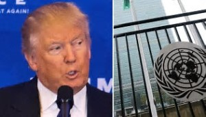 Trump with UN logo